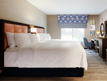 Guest Room_Hampton Inn_Hospitality Design Firm in Massachusettes_by Russell and Dawson