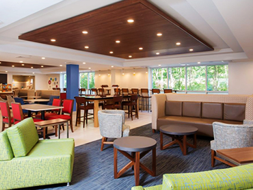 Lobby_Design_Holiday Inn Express_Hotel Design Services in Massachusettes_by Russell and Dawson