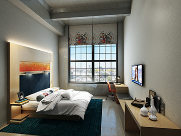 Guest Room Interior Rendering_Boston Hotel_by Russell and Dawson